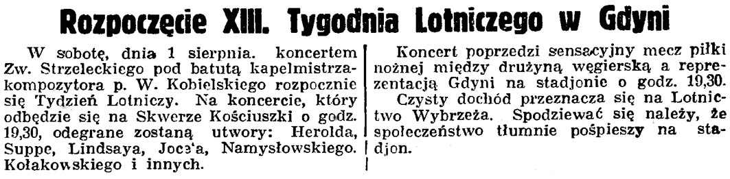 Rozpoczęcie XIII. Tygodnia Lotniczego w Gdyni // Gazeta Gdańska. - 1936, nr 174, s. 12