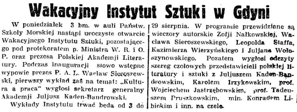 Wakacyjny Instytut Sztuki w Gdyni // Gazeta Gdańska. - 1936, nr 174, s. 9