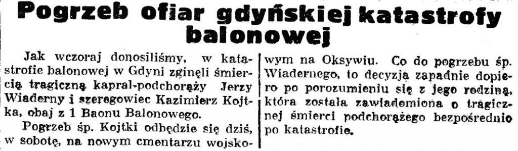 Pogrzeb ofiar gdyńskiej katastrofy balonowej // Gazeta Gdańska. - 1936, nr 174, s. 9
