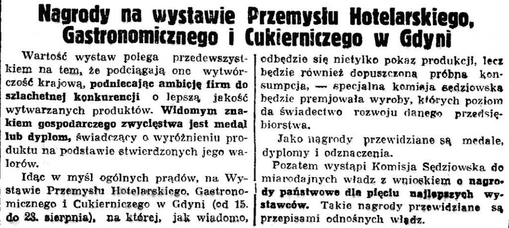 Nagrody na wystawie Przemysłu Hotelarskiego, Gastronomicznego i Cukierniczego w Gdyni // Gazeta Gdańska. - 1936, nr 174, s. 9