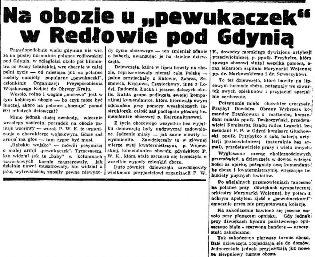 """Na obozie u """"pewukaczek"""" w Redłowie pod Gdynią // Gazeta Gdańska. - 1936, nr 174, s. 9"""