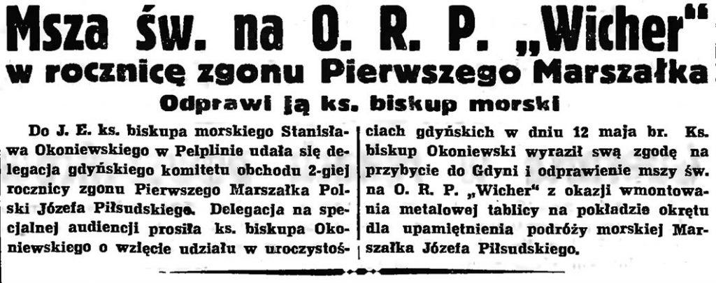 """Msza św. na O. R. P. """"Wicher"""" w rocznicę zgonu Pierwszego Marszałka. Odprawi ją ks. biskup morski // Gazeta Gdańska. - 1937, nr 100, s. 1"""
