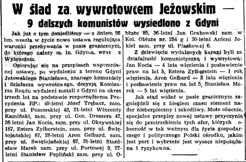 W ślad za wywrotowcem Jeżowskim - 9 dalszych komunistów wysiedlono z Gdyni