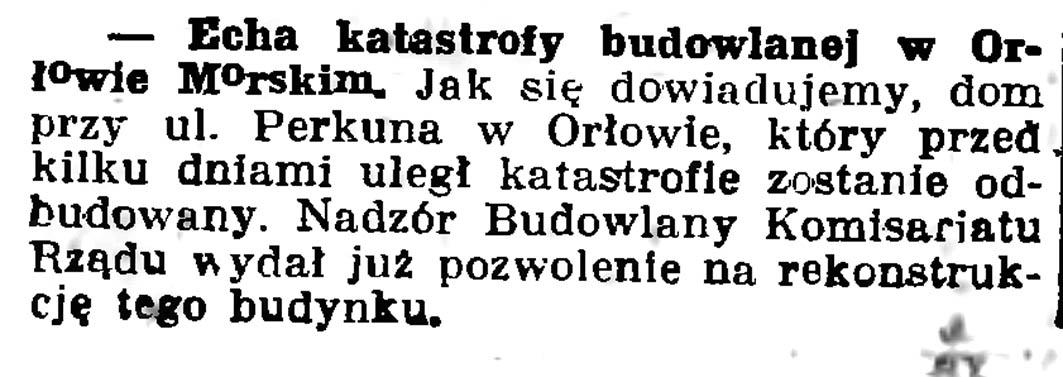 Echa katastrofy budowlanej w Orłowie Morskim // Gazeta Gdańska. - 1937, nr 100, s. 8