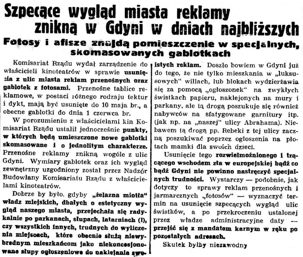 Szpecące wygląd miasta reklamy znikną w Gdyni w dniach najbliższych. Fotosy i afisze znajdą pomieszczenie w specjalnych, skomasowanych gablotkach // Gazeta Gdańska. - 1937, nr 100, s. 8