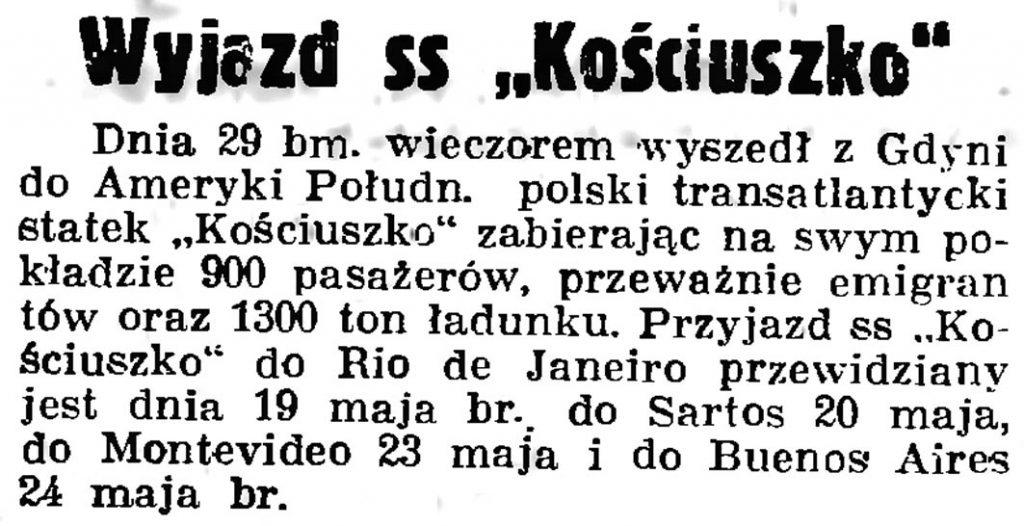 """Wyhazd ss """"Kościuszko"""""""