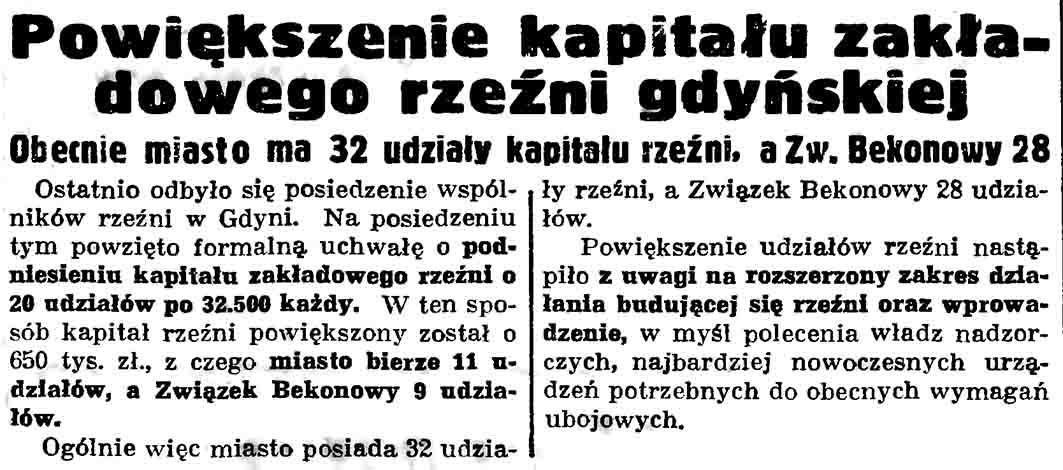 Powiększenie kapitału zakładowego rzeźni gdyńskiej. Obecnie miasto ma 32 udziały kapitału rzeźni, a Zw. Bekonowy 28 // Gazeta Gdańska. - 1937, nr 100, s. 9
