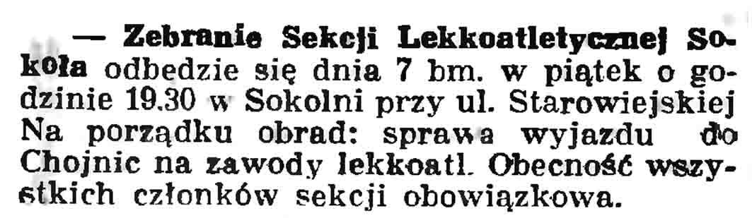 Zebranie Sekcji Lekkoatletycznej Sokoła // Gazeta Gdańska. - 1937, nr 104, s. 6