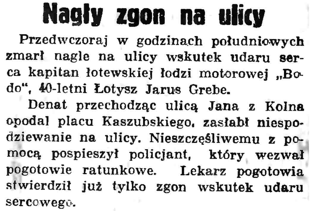 Nagły zgon na ulicy // Gazeta Gdańska. - 1937, nr 104, s. 6