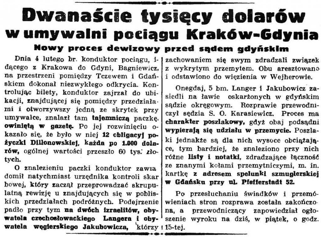 Dwanaście tysięcy dolarów w umywalni pociągu Kraków-Gdynia. Nowy proces dewizowy przed sądem gdyńskim // Gazeta Gdańska. - 1937, nr 104, s. 6