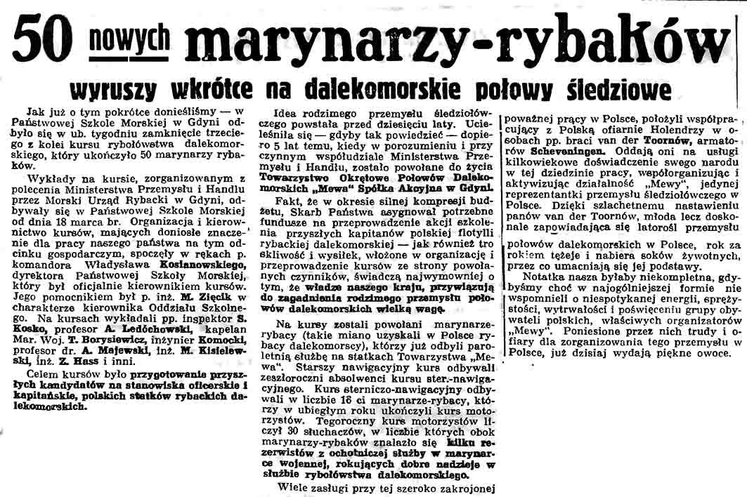 50 nowych marynarzy - rybaków wyruszy wkrótce na dalekomorskie połowy śledziowe // Gazeta Gdańska. - 1937, nr 104, s. 7