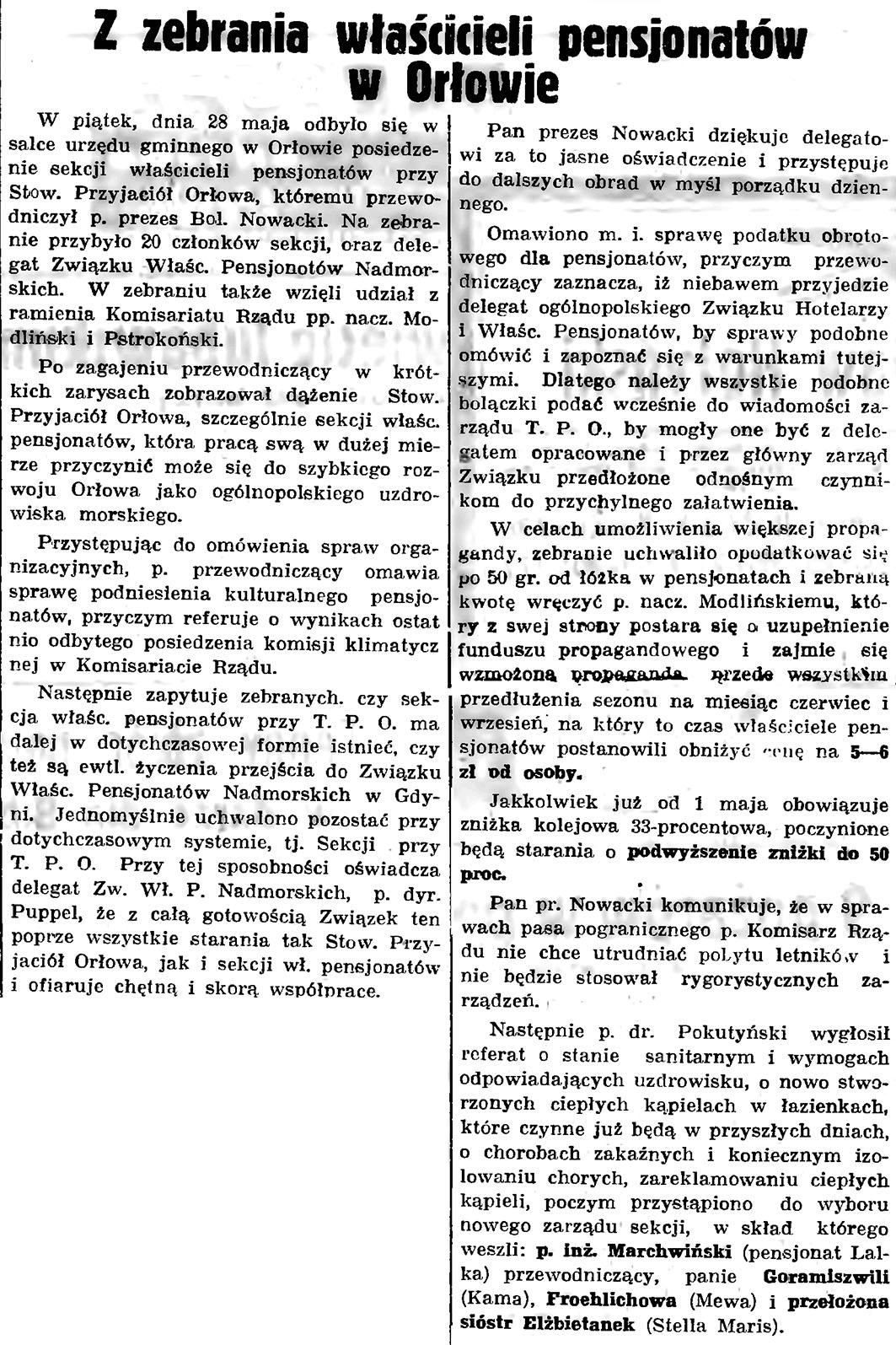 Z zebrania właścicieli pensjonatów w Orłowie // Gazeta Gdańska. - 1937, nr 123, s. 8