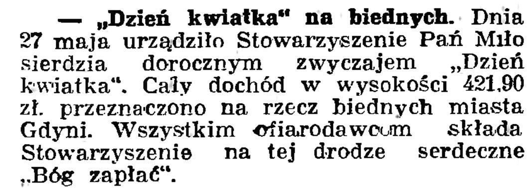 """""""Dzień Kwiatka"""" na biednych // Gazeta Gdańska. - 1937, nr 123, s. 8"""