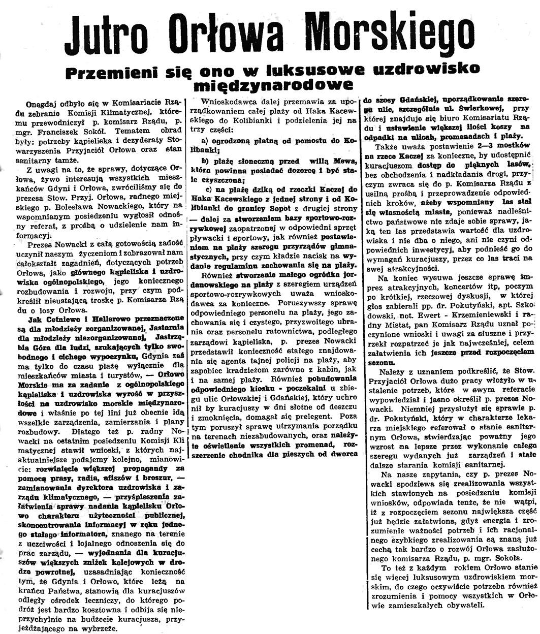 Jutro Orłowa Morskiego. Przemieni się ono w luksusowe uzdrowisko międzynarodowe // Gazeta Gdańska. - 1937, nr 123, s. 9