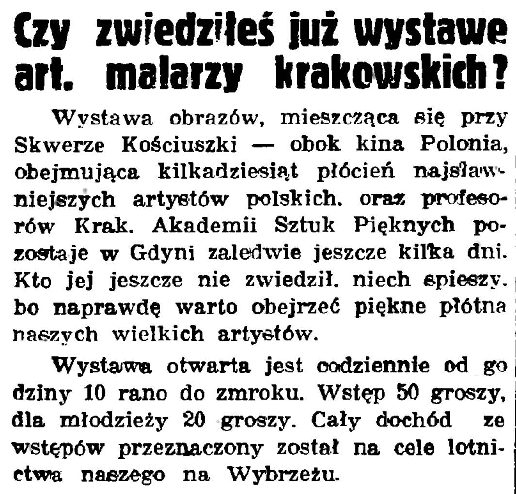 Czy zwiedziłeś już wystawę art. malarzy krakowskich? // Gazeta Gdańska. - 1937, nr 148, s. 8