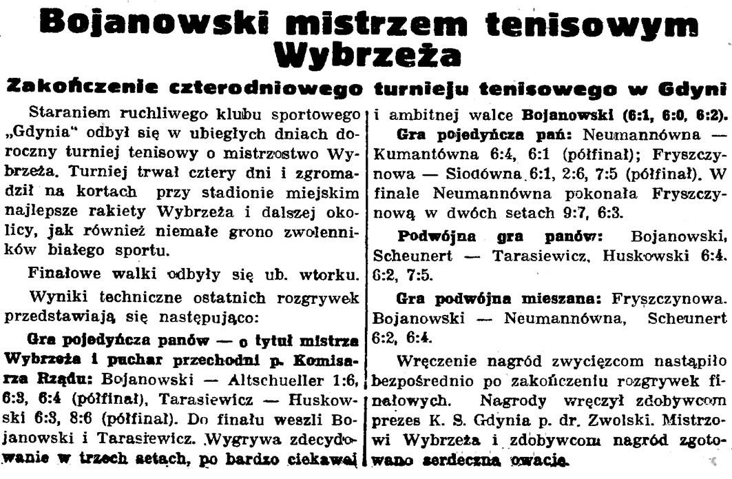 Bojanowski mistrzem tenisowym Wybrzeża. Zakończenie czterodniowego turnieju tenisowego w Gdyni // Gazeta Gdańska. - 1937, nr 148, s. 8