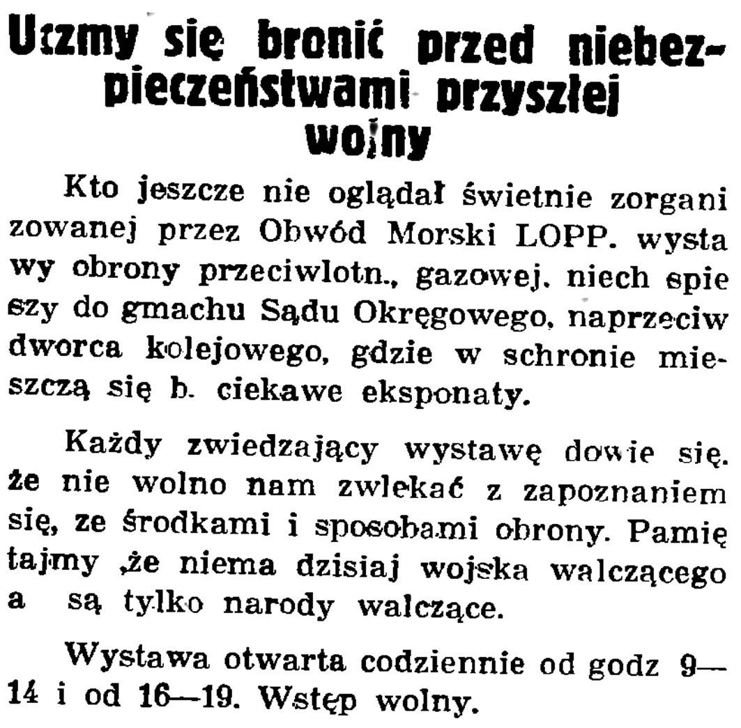 Uczymy się bronić przed niebezpieczeństwami przyszłej wojny // Gazeta Gdańska. - 1937, nr 148, s. 8