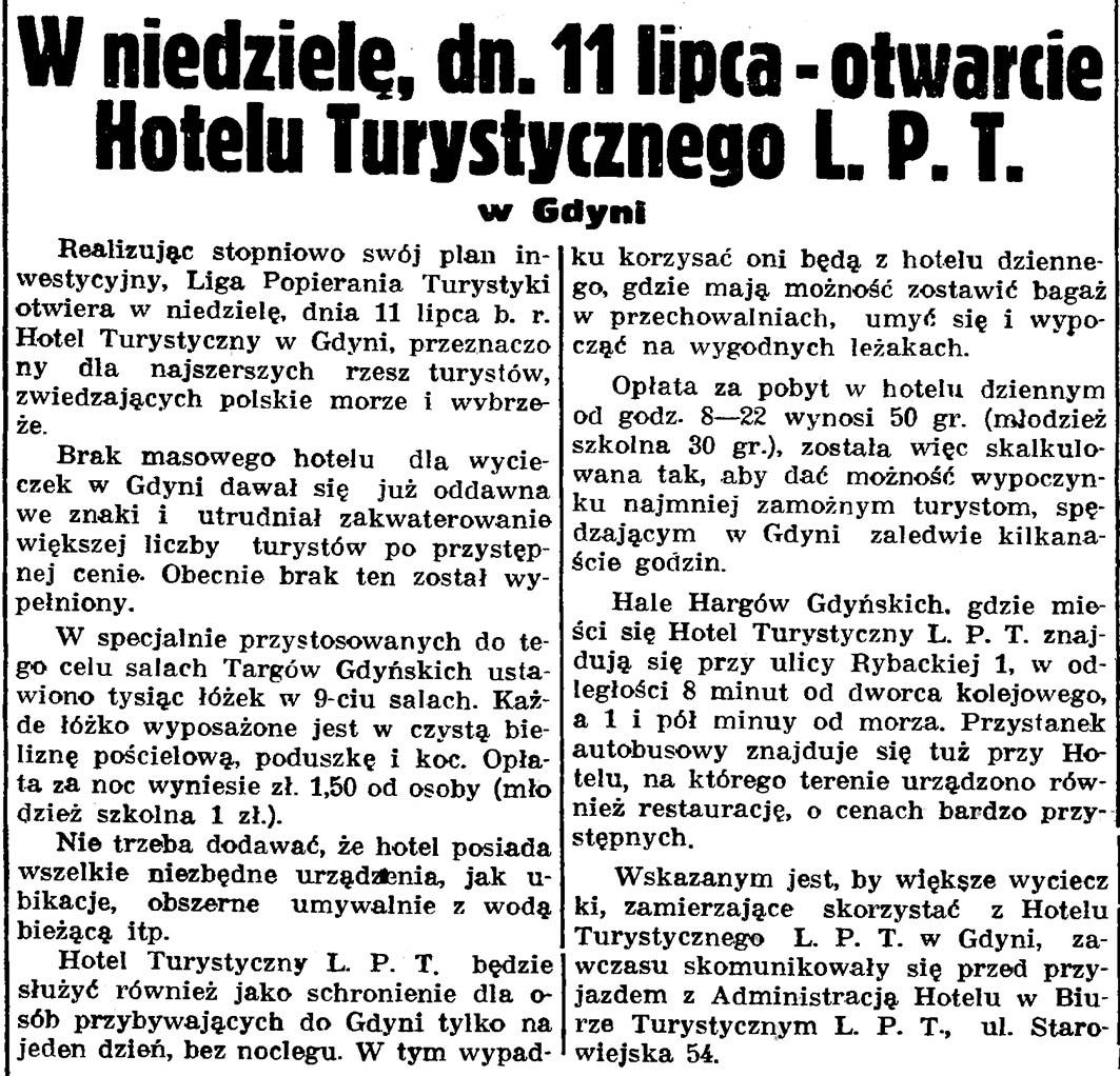 W niedzielę, dn. 11 lipca - otwarcie Hotelu Turystycznego L.P.T. w Gdyni // Gazeta Gdańska. - 1937, nr 148, s. 8