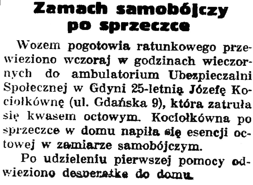 Zamach samobójczy po sprzeczce // Gazeta Gdańska. - 1937, nr 149, s. 8