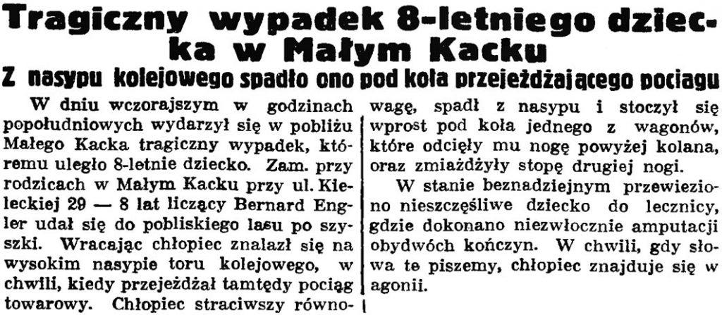 Tragiczny wypadek 8-letniego dziecka w Małym Kacku. Z nasypu kolejowego spadło ono pod koła przejeżdżającego pociągu // Gazeta Gdańska. -1 937, nr 149, s. 9