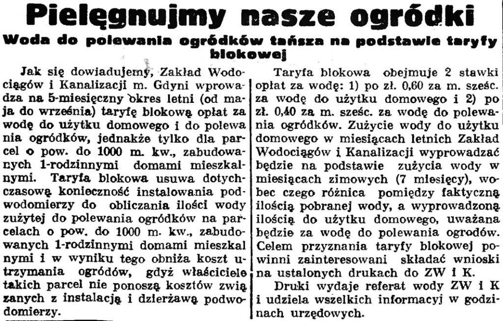 Pielęgnujmy nasze ogródki. Woda do polewania ogródków tańsza na podstawie taryfy blokowej // Gazeta Gdańska. - 1937, nr 149, s. 9