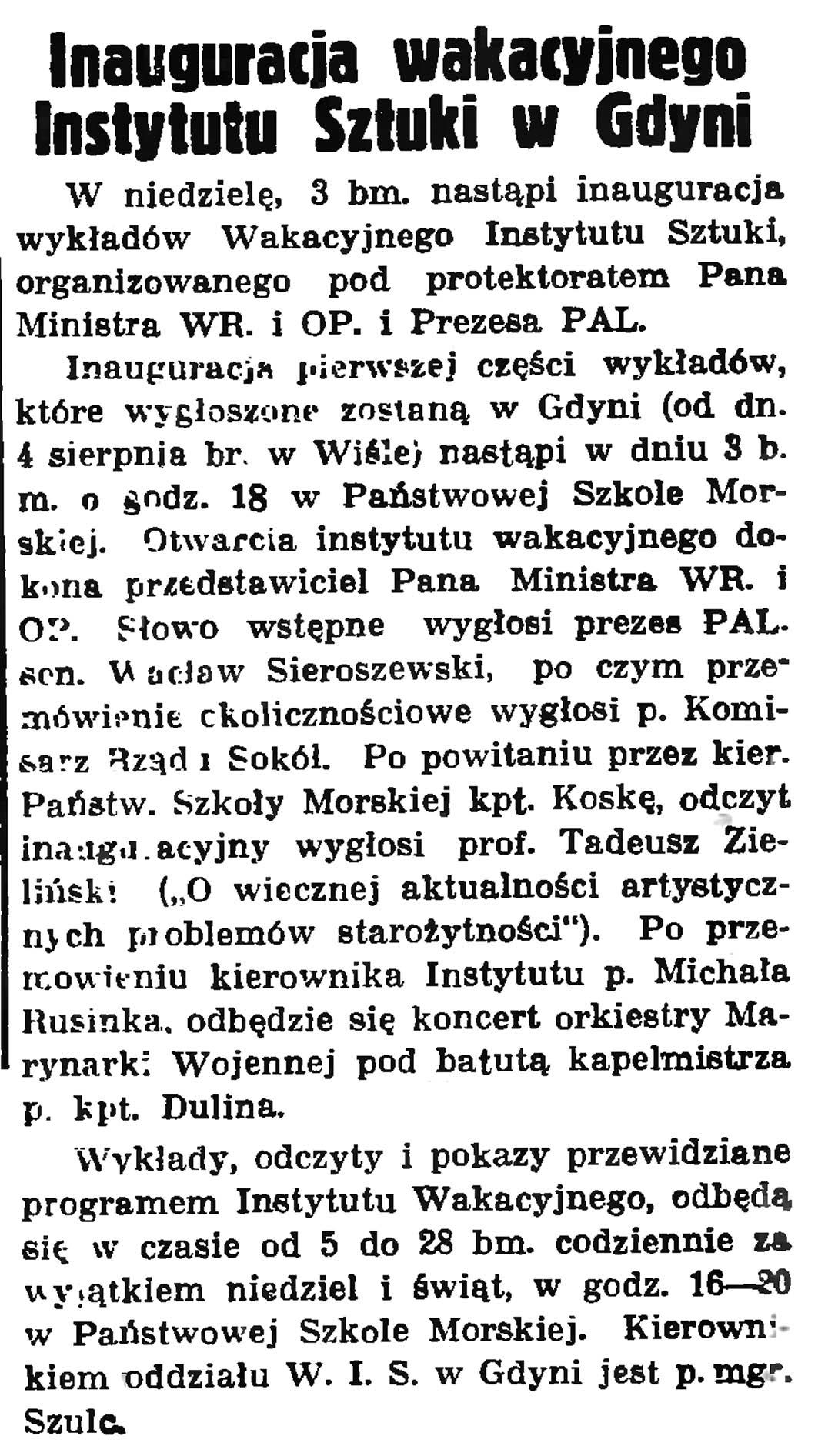 Inauguracja wakacyjnego Instytutu Sztuki w Gdyni // Gazeta Gdyńska. - 1937, nr 149, s. 9