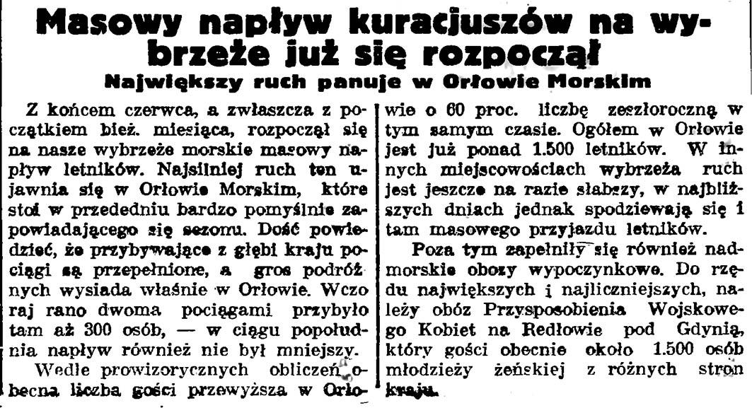 Masowy napływ kuracjuszów na wybrzeże już się rozpoczął. Największy ruch panuje w Orłowie Morskim // Gazeta Gdańska. - 1937, nr 150, s. 10