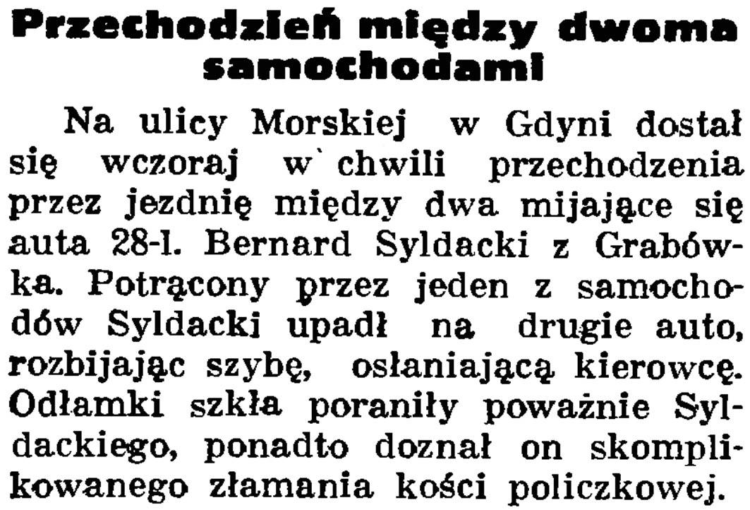 Przechodzień między dwoma samochodami // Gazeta Gdańska. - 1937, nr 150, s. 10
