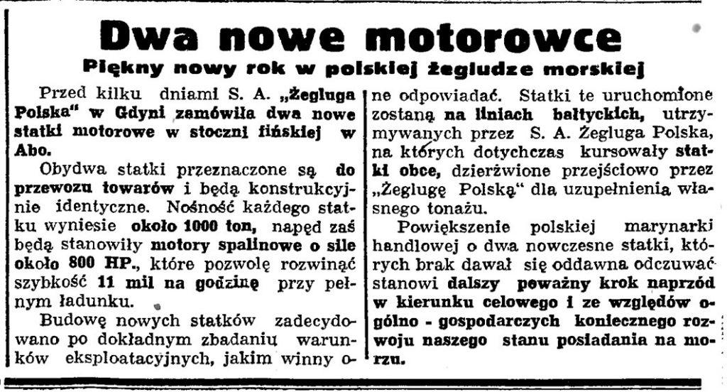 Dwa nowe motorowce. Piękny nowy rok w polskiej żegludze morskiej // Gazeta Gdańska. - 1936, nr 17, s. 2. s. 13