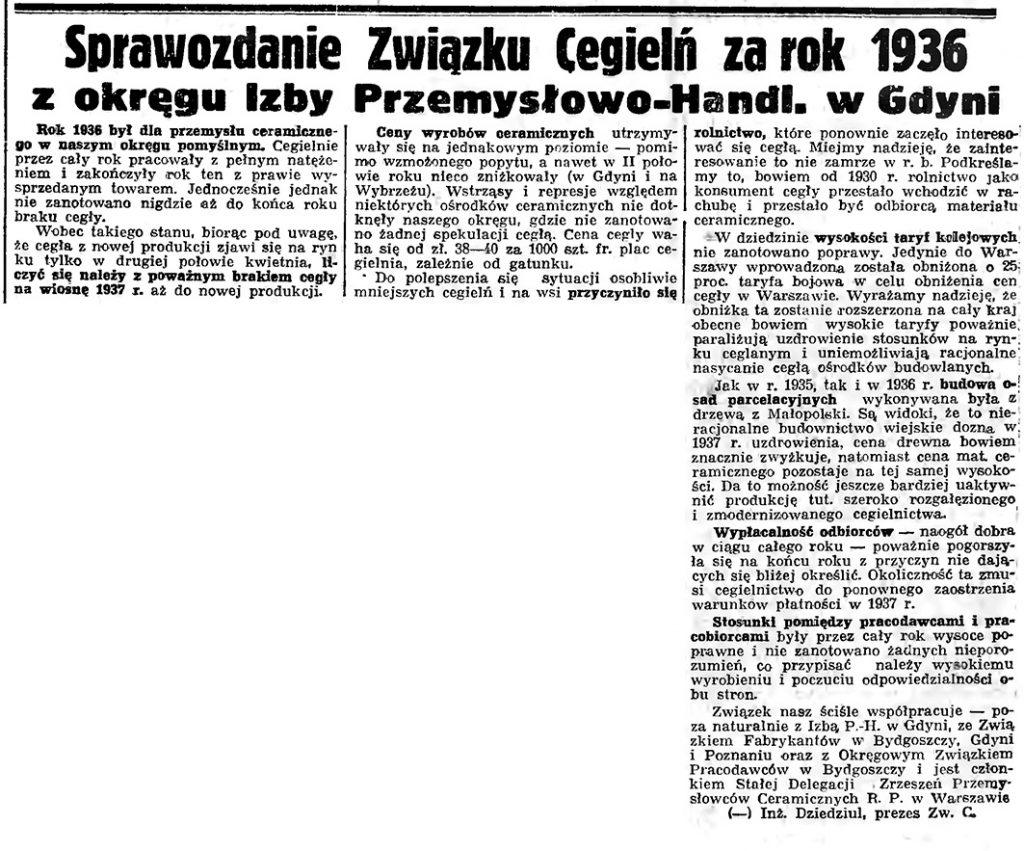 Sprawozdanie Związku Cegielń za rok 1936 z okręgu Izby Przemysłowo-Handl. w Gdyni // Gazeta Gdańska. - 1937, nr 4, s. 4