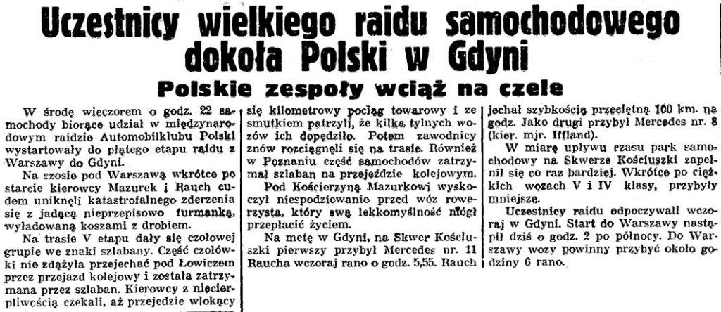 Uczestnicy wielkiego rajdu samochodowego dookoła Polski w Gdyni // Gazeta Gdańska. - 1938, nr 148, s. 2