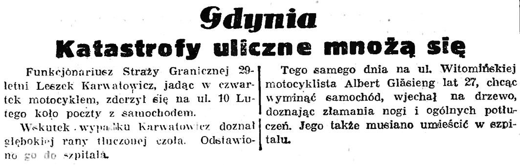 Gdynia: katastrofy uliczne mnożą się // Gazeta Gdańska. - 1939, nr 150. s. 6