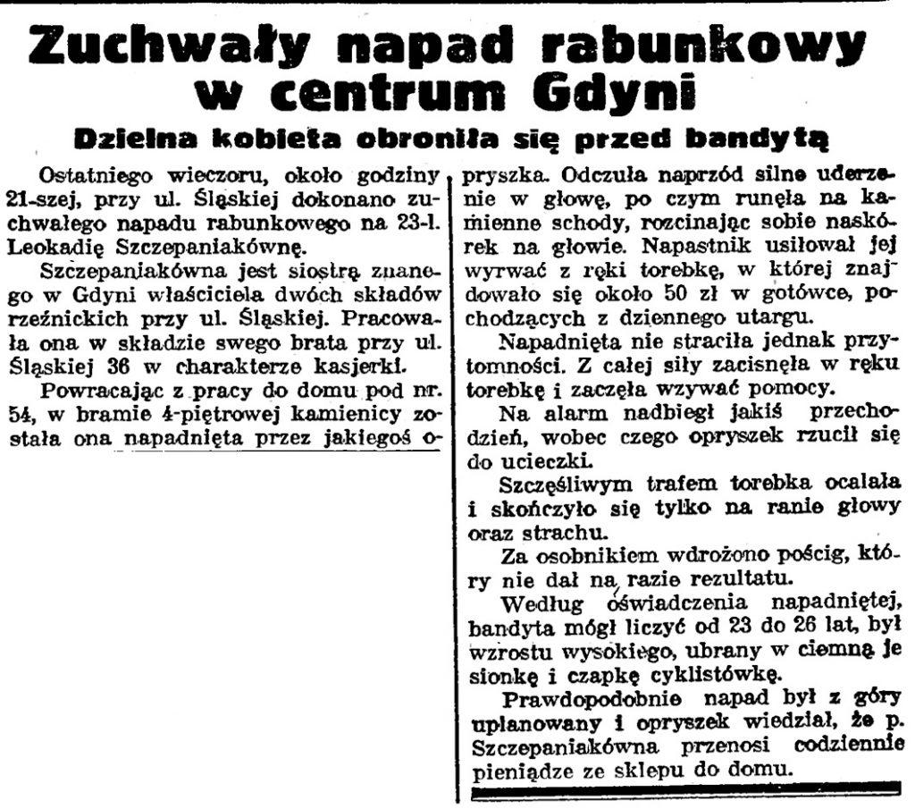 Zuchwały napad rabunkowy w centrum Gdyni. Dzielna kobieta obroniła się przed bandytą // Gazeta Gdańska. - 1938, nr 24, s. 11