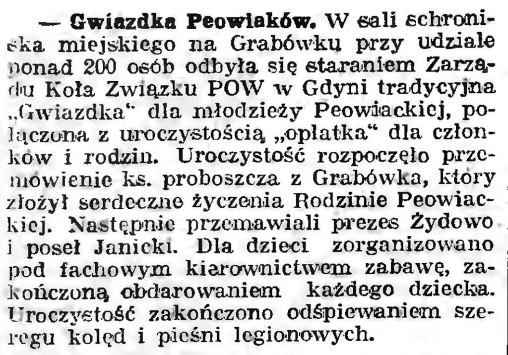 Gwiazdka Peowiaków //Gazeta Gdańska. - 1939, nr 10, s. 7