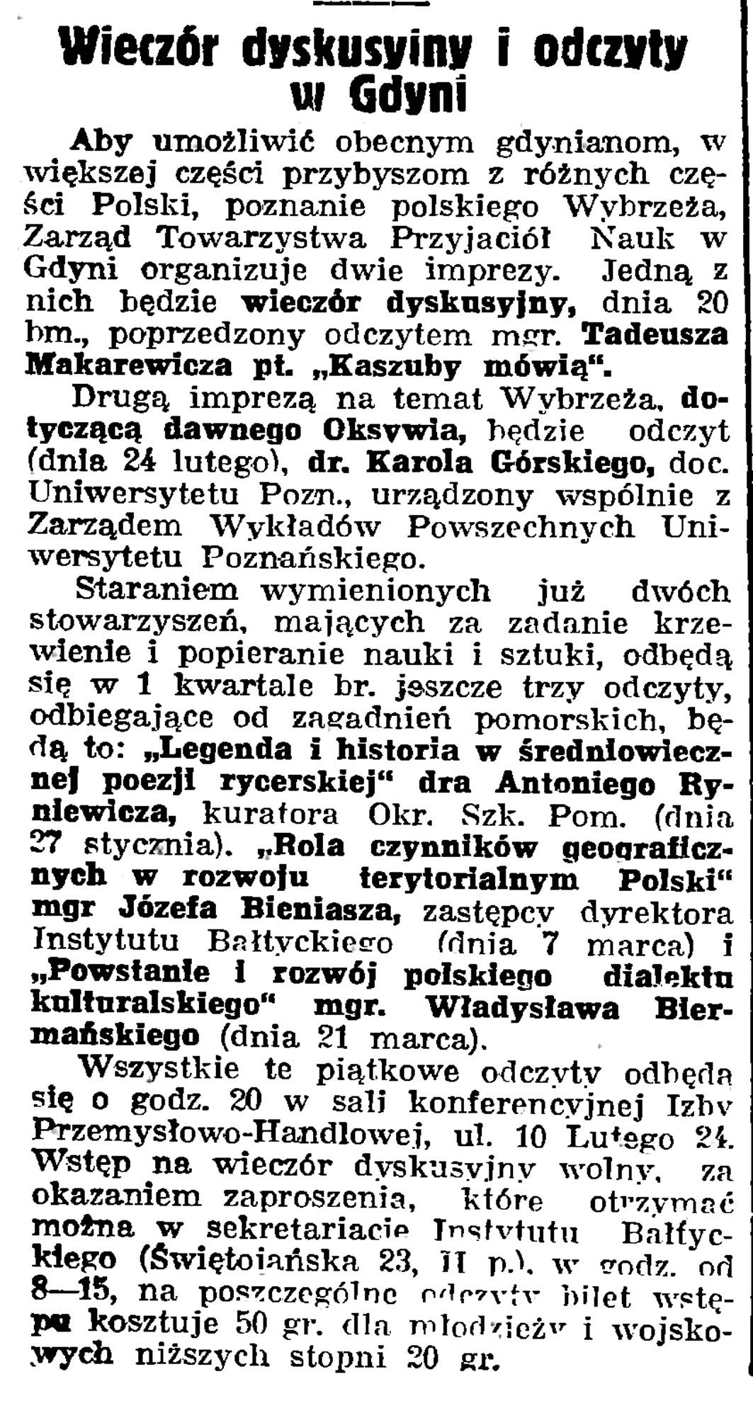 Wieczór dyskusyjny w Gdyni // Gazeta Gdańska. - 1939, nr 13, s. 6