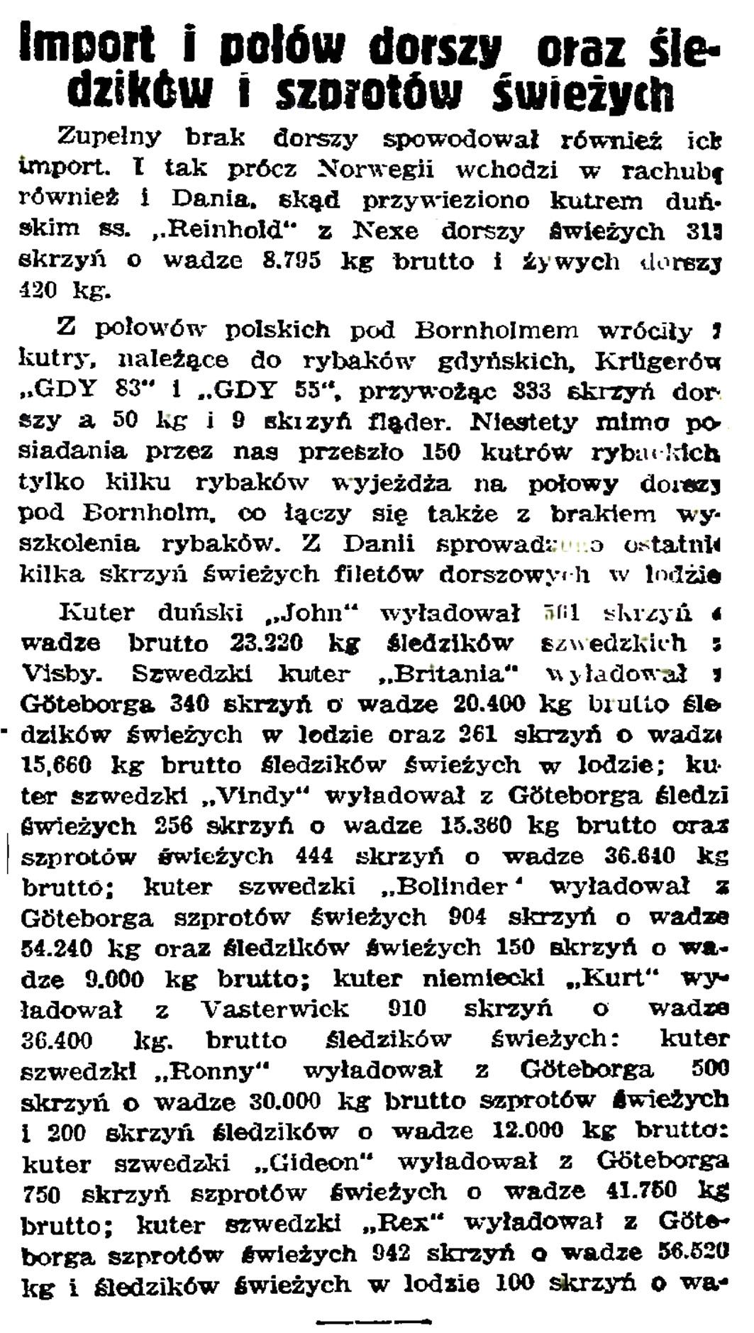 Import i połów dorszy oraz śledzi i szprotów świeżych // Gazeta Gdańska. - 1939, nr 14, s. 7