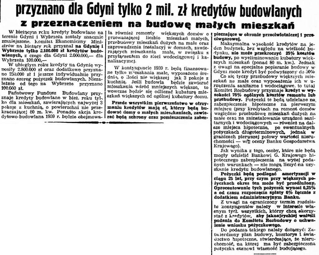 Przyznano dla Gdyni tylko 2 mil. zł kredytów budowlanych z przeznaczeniem na budowę małych mieszkań // Gazeta Gdańska. - 1939, nr 15, s. 7