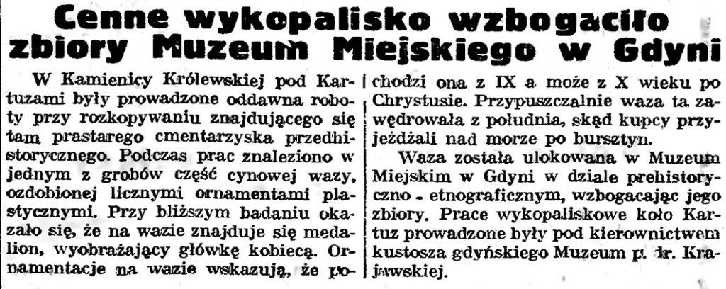 Cenne wykopalisko wzbogaciło zbiory Muzeum Miejskiego w Gdyni // Gazeta Gdańska. - 1939, nr 17, s. 5