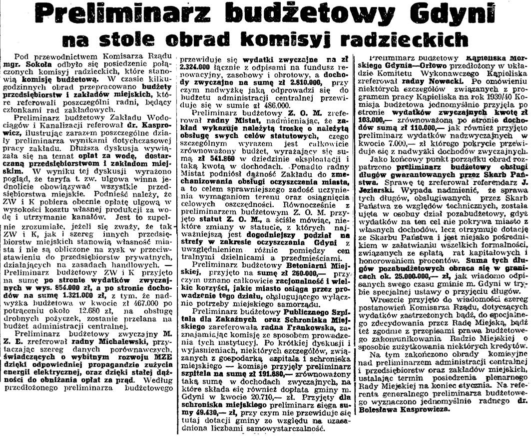 Preliminarz budżetowy Gdyni na stole obrad komisyj radzieckich // Gazeta Gdańska. - 1939, nr 17, s. 7