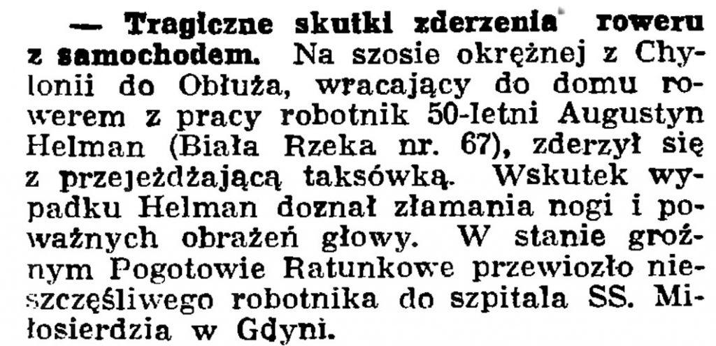 Tragiczne skutki zderzenia roweru z samochodem // Gazeta Gdańska. - 1939, nr 23, s. 12
