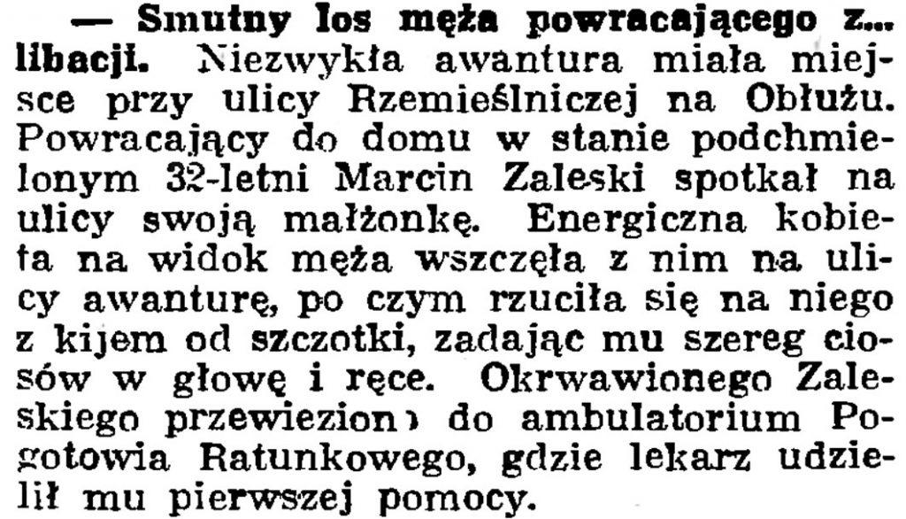 Smutny los męża powracającego z libacji // Gazeta Gdańska. - 1939, nr 24, s. 12