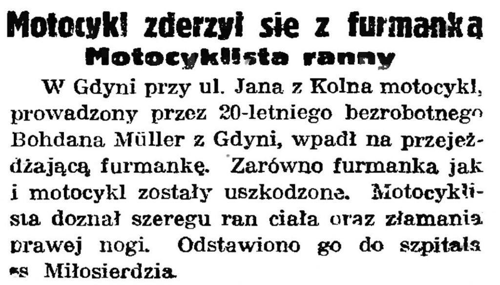 Motocykl zderzył się z furmanką. Motocyklista ranny // Gazeta Gdańska. - 1939, nr 251, s. 6