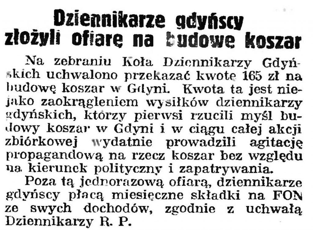 Dziennikarze gdyńscy złożyli ofiarę na budowę koszar // Gazeta Gdańska. - 1939, nr 251, s. 6