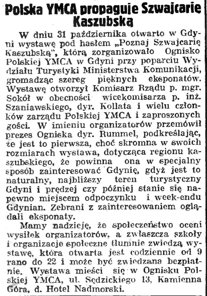 Polska YMCA propaguje Szwajcarię Kaszubską // Gazeta Gdańska. - 1939, nr 253, s.12