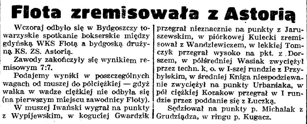 Flota zremisowała z Astorią // Gazeta Gdańska. - 1939, nr 25, s. 4