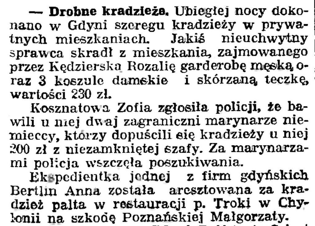 Drobne kradzieże // Gazeta Gdańska. - 1939, nr 26, s. 7