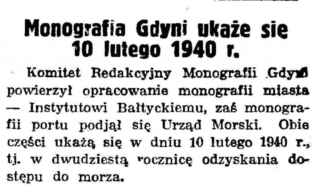 Monografia Gdyni ukaże się 10 lutego 1940 r. // Gazeta Gdańska. - 19Monografia Gdyni ukaże się 10 lutego 1940 r. // Gazeta Gdańska. - 1939, nr 33, s. 939, nr 33, s. 9