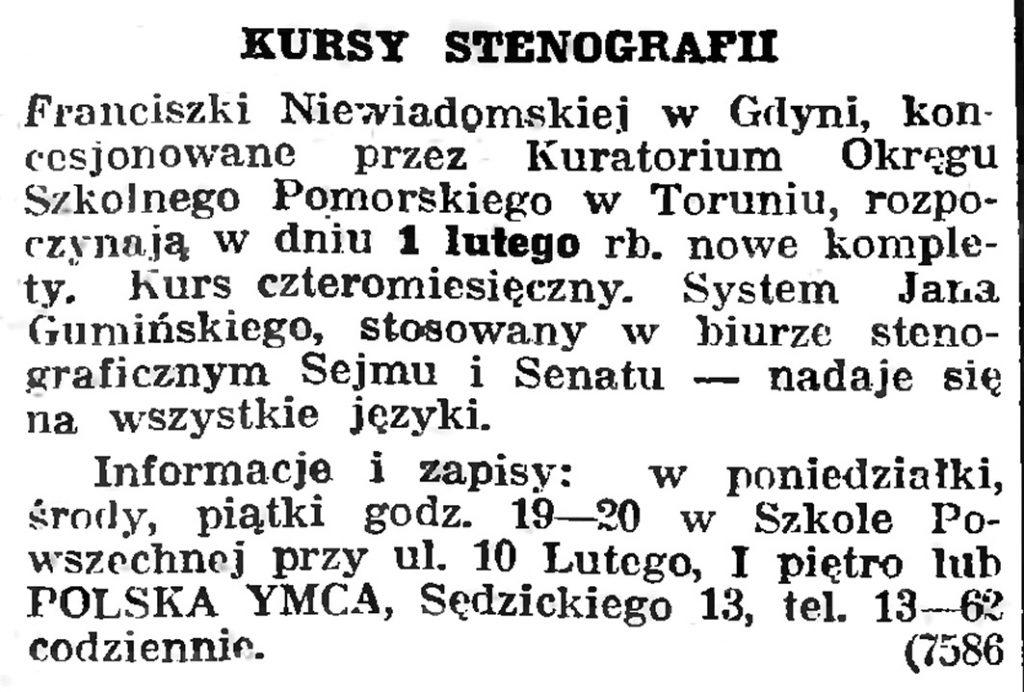 KURSY STENOGRAFII // Gazeta Gdańska. - 1939, nr 6, s. 13