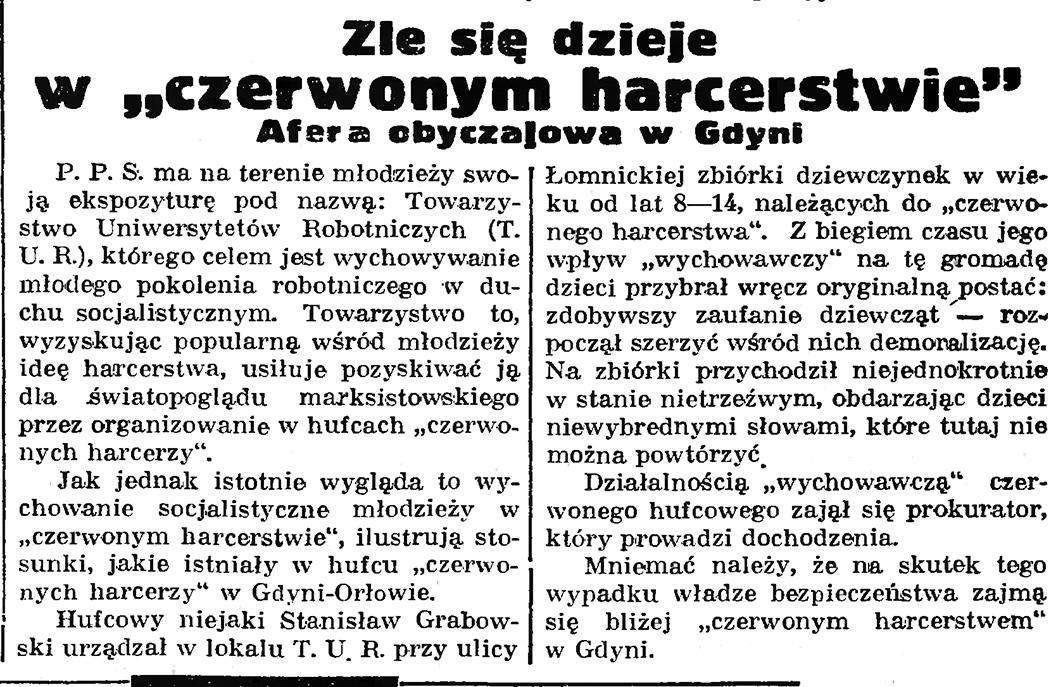 """Źle się dzieje w """"czerwonym harcerstwie"""". Afera obyczajowa w Gdyni // Gazeta Gdańska. - 1935, nr 87, s. 1"""