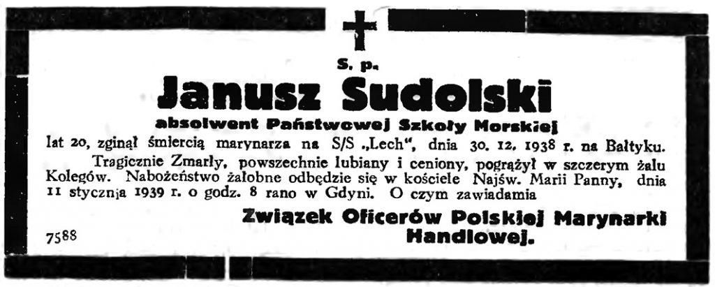 S. p. Janusz Sudolski absolwent Państwowej Szkoły Morskiej // Gazeta Gdańska. - 1939, nr 9, s. 7